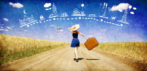 Girl With A Suitcase Dreaming Of Travel