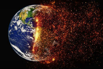 Burning earth global warming